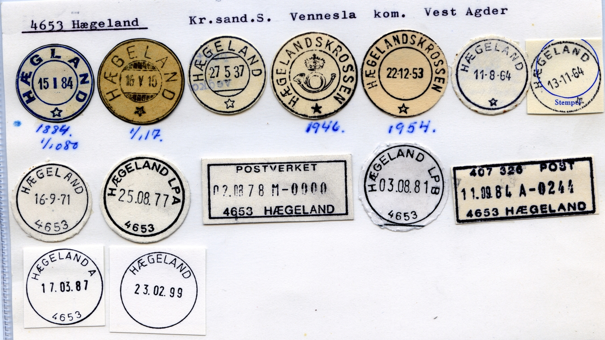 Stempelkatalog 4653 Hægeland (Hægelandskrossen), Kristiansand, Vennesla, Vest-Agder