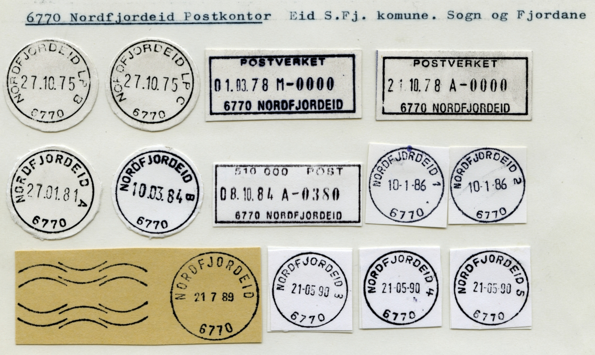 Stempelkatalog  6770 Nordfjordeid, (Eide i Nordfj., Nordfjordeide, Nordfjordeidet), Eid, Sogn og Fjordane