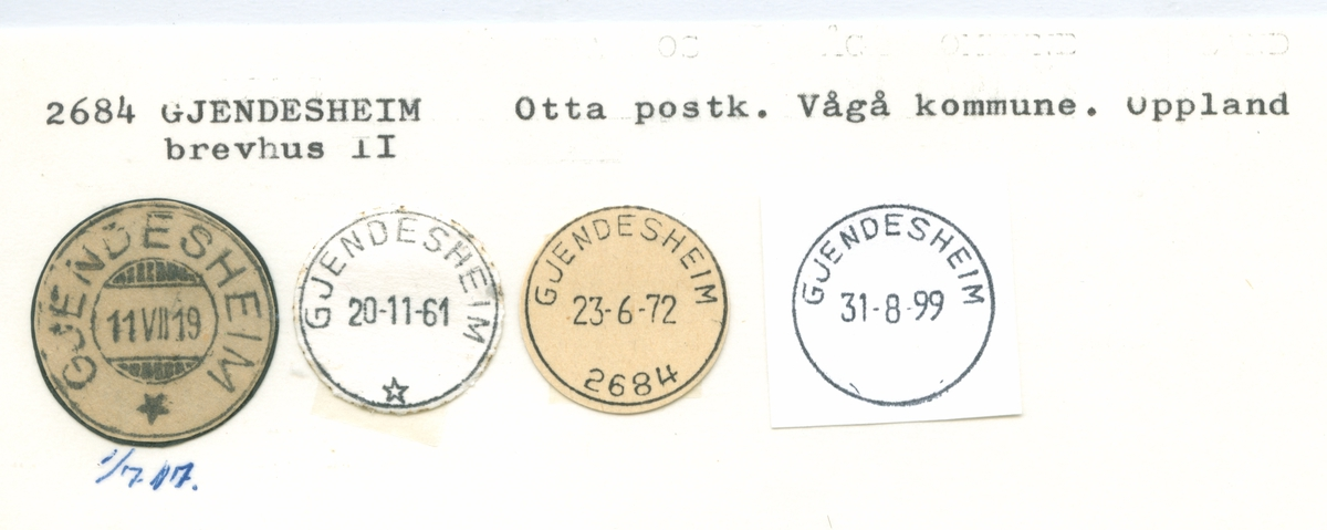 Stempelkatalog 2689, Lillehammer, Lom, Oppland