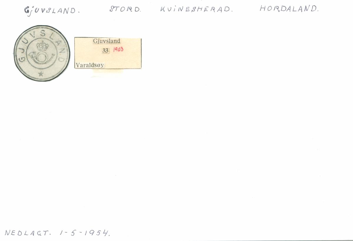 Stempelkatalog Gjuvsland, Stord, Varaldsøy, Hordaland