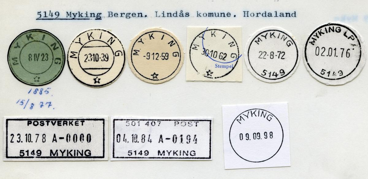 Stempelkatalog  5149 Myking, Lindås kommune, Hordaland