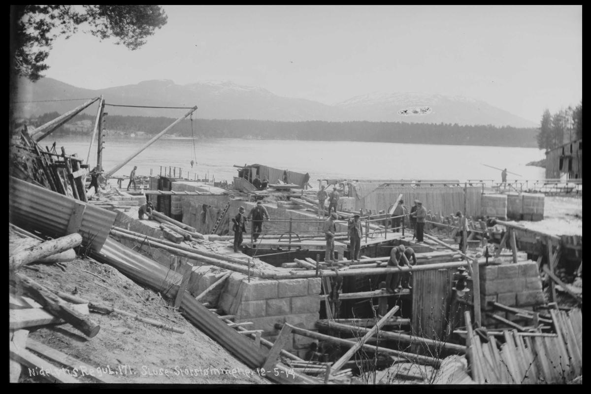 Arendal Fossekompani i begynnelsen av 1900-tallet CD merket 0468, Bilde: 85 Sted: Storstraumen dam, Nidelva Beskrivelse: Regulering
