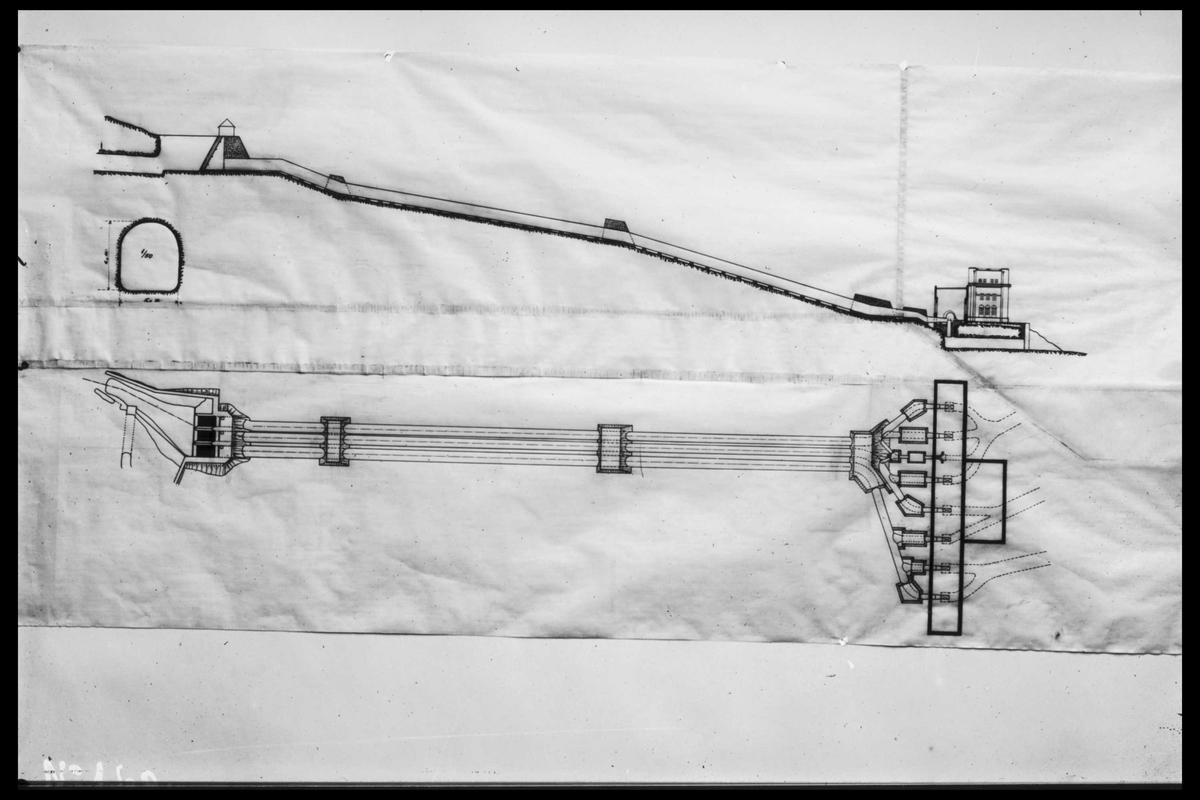 Arendal Fossekompani i begynnelsen av 1900-tallet CD merket 0469, Bilde: 7 Sted: Bøylefoss Beskrivelse: Kraftstasjon tegning. Horisontalt og Vertikalt