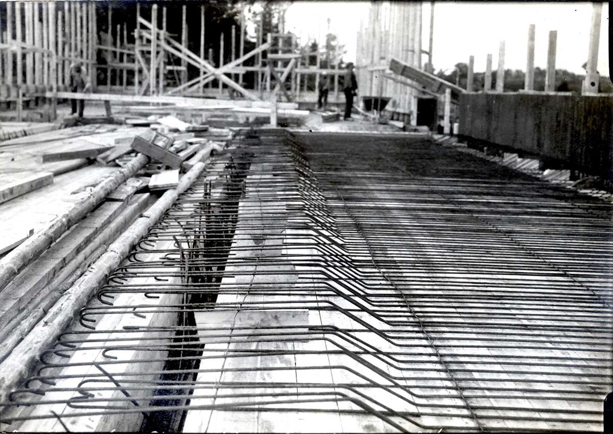 """""""xx/xx-1913"""" Nitriden. Antagelig armering og forskaling bygning for materiallager, verksteder og kontorer."""
