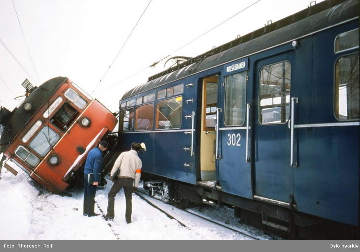 Holmenkollbanen 113 og C2 406 kollidert ved Majorstuen stasjon.