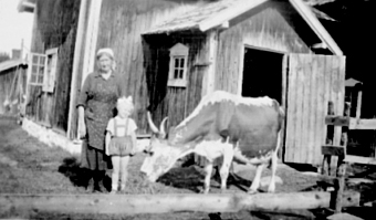 SKOMAKERBAKKEN, MARIE SANDVOLL OG TURID FJELDSETH MED TELEMARKSKUA GULLØRE FORAN FJØSDØRA