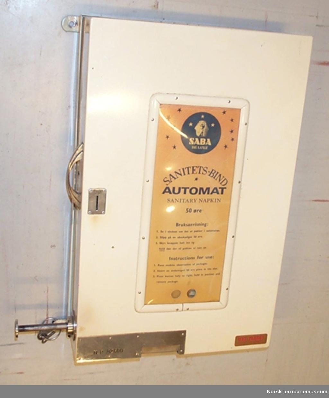 Automat for SABA sanitetsbind - til oppstilling på dametoalett