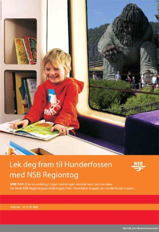 Reklameplakat : Lek deg fram til Hunderfossen med NSB Regiontog