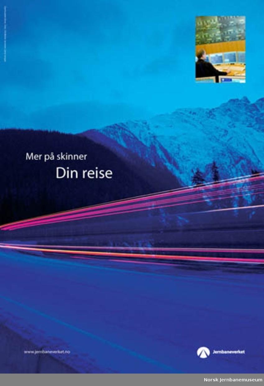 """Reklameplakater : """"Mer på skinner"""" : """"Din reise"""""""