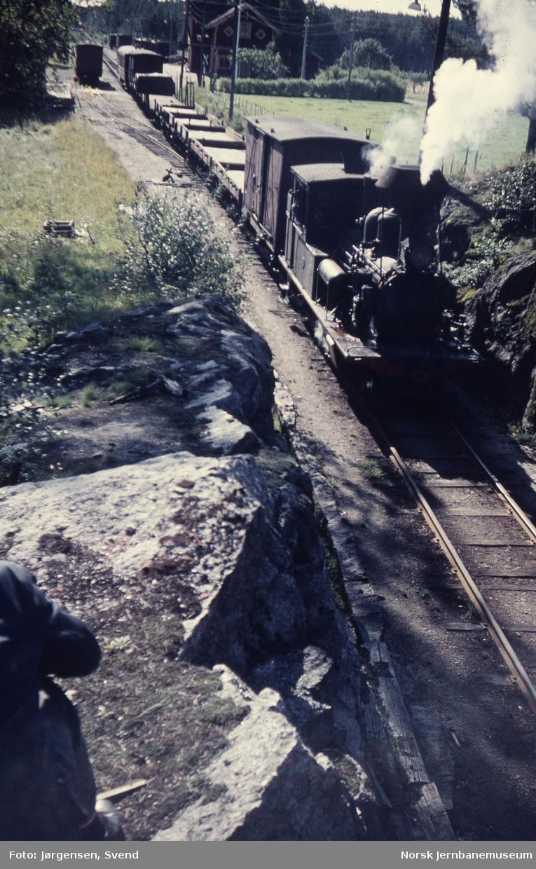 Damplokomotiv nr. 2 foran godstog 5661 på Moisund stoppested