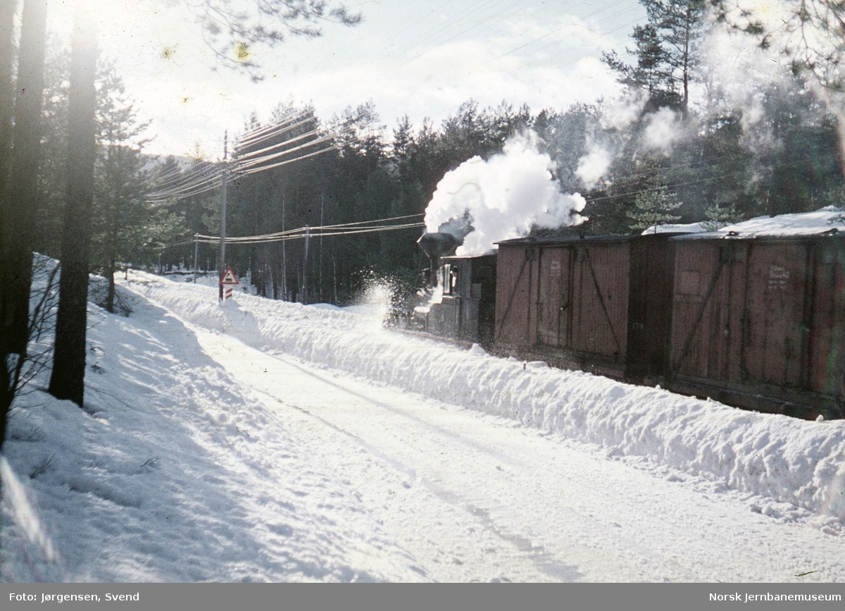 Damplokomotiv nr. 2 med godstog 5661 nord for Syrtveit