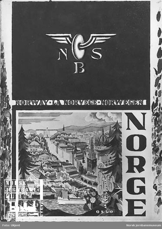 NSB-reiselivsplakat: Norge - Norway - La Norvege - Norwegen med tegning av det sentrale Oslo
