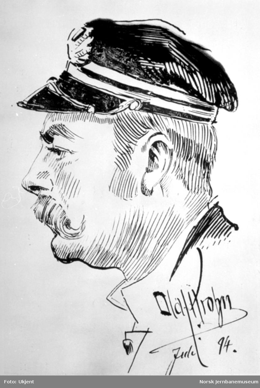 Karikaturtegning av kaptein Harald Pavels på D/S Strømmen