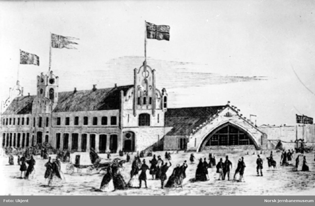 Tegning av Østbanestasjonen