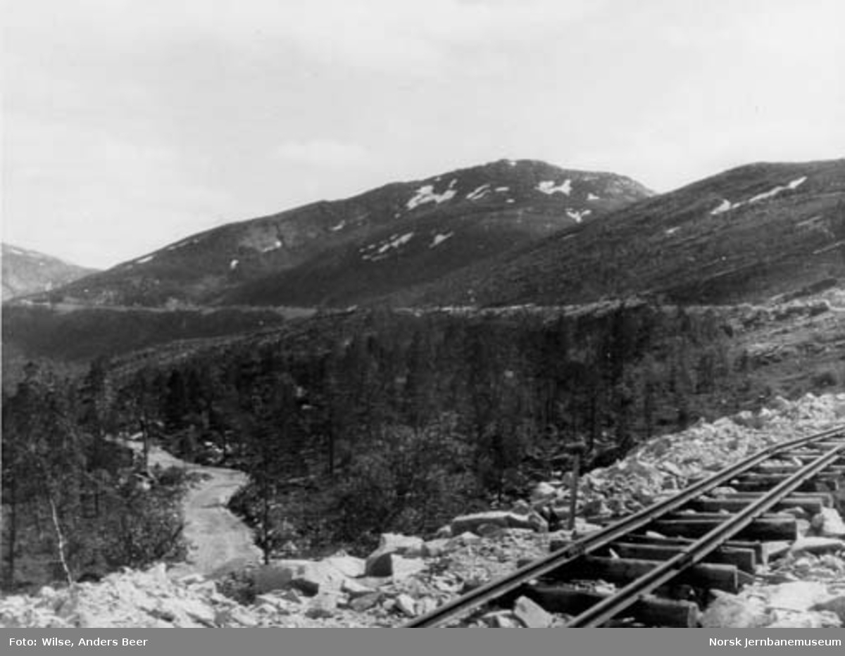 Nordlandsbaneanlegget : linjen sydover ved Ankermo