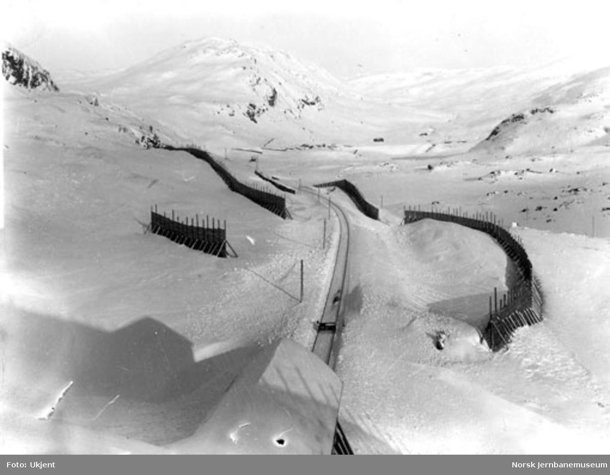 Linjeparti vest for Upsete (pel 4110-4150) med stasjonen langt borte; sett østover