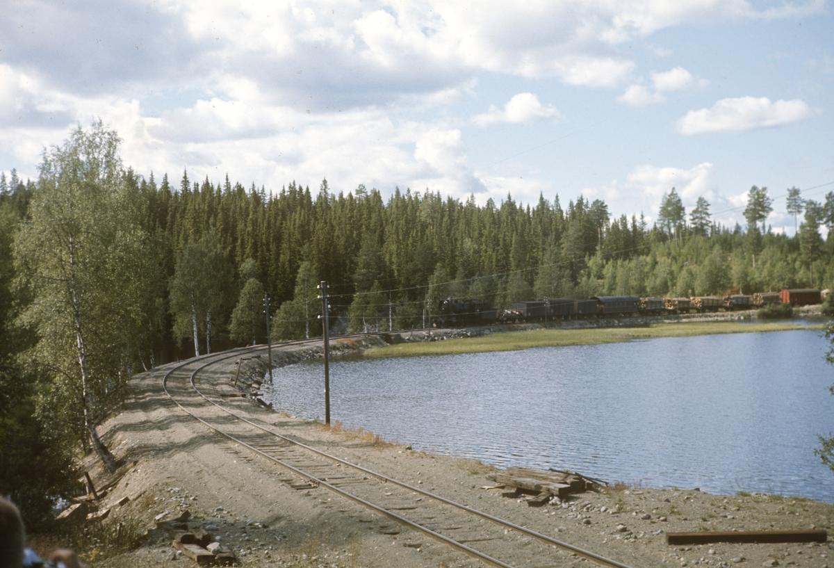 Godstog på Valdresbanen på vei inn til Trevatn stasjon. Toget trekkes av damplok 30b 347.