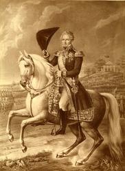 Karl XIV Johan (1763-1844) til hest, oppmarsjerte tropper i bakgrunnen.