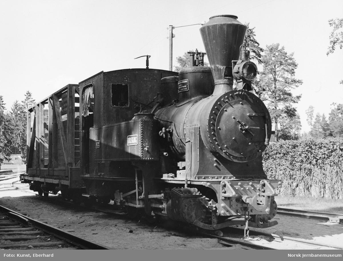 "Damplokomotivet ""Urskog"" med plattformvogn på Jernbanemuseet"