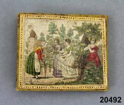 3 kvinnor som handarbetar i en utomhusscen, 2 modeklädda män. 1825-30 års modedräkt 3 unga  kvinnor i  möte med en äldre kvinna med käpp. omkr. 1825-30 års modedräkt Antik yngling med lyra Amor med pilbåge Militäruppställning