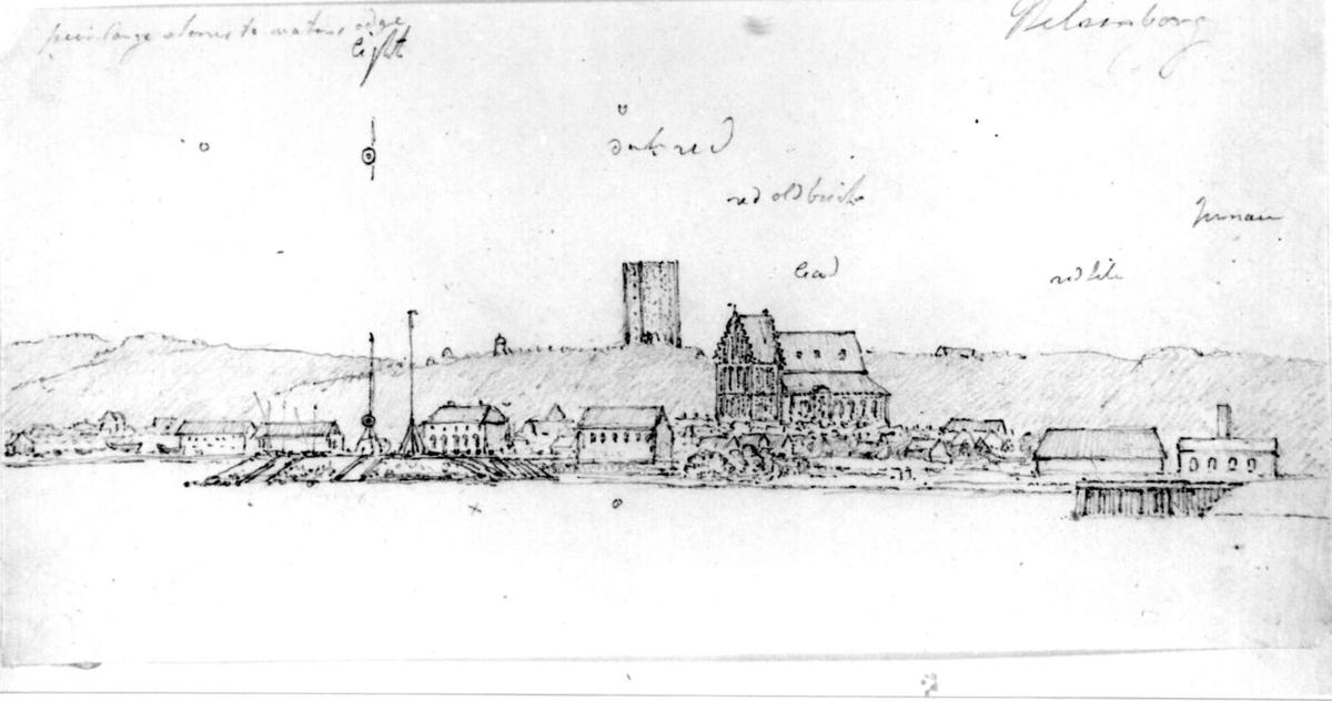 """MalmøhusFra skissealbum av John W. Edy, """"Drawings Norway 1800""""."""