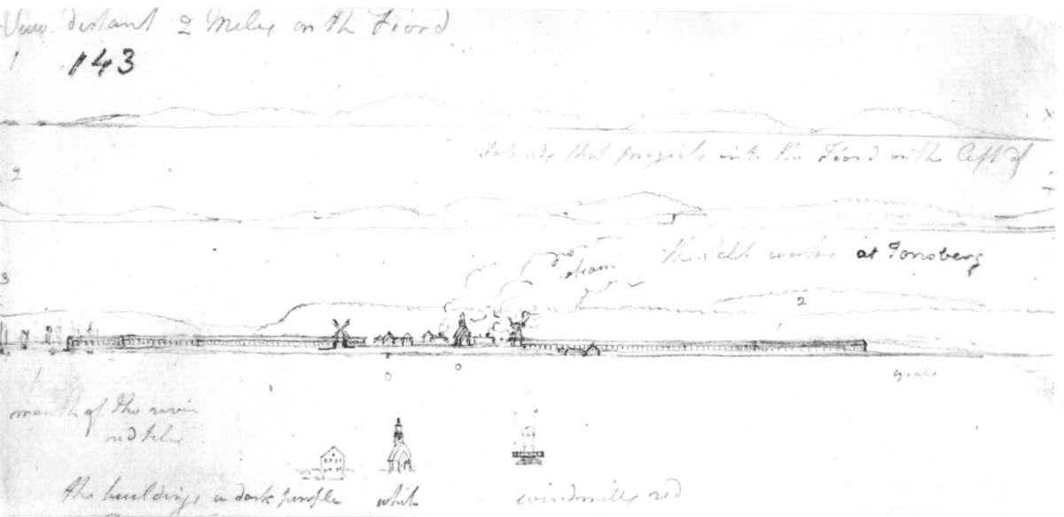 """Vallø saltverk  Tønsberg - Vestfold Fra skissealbum av John W. Edy, """"Drawings Norway 1800""""."""