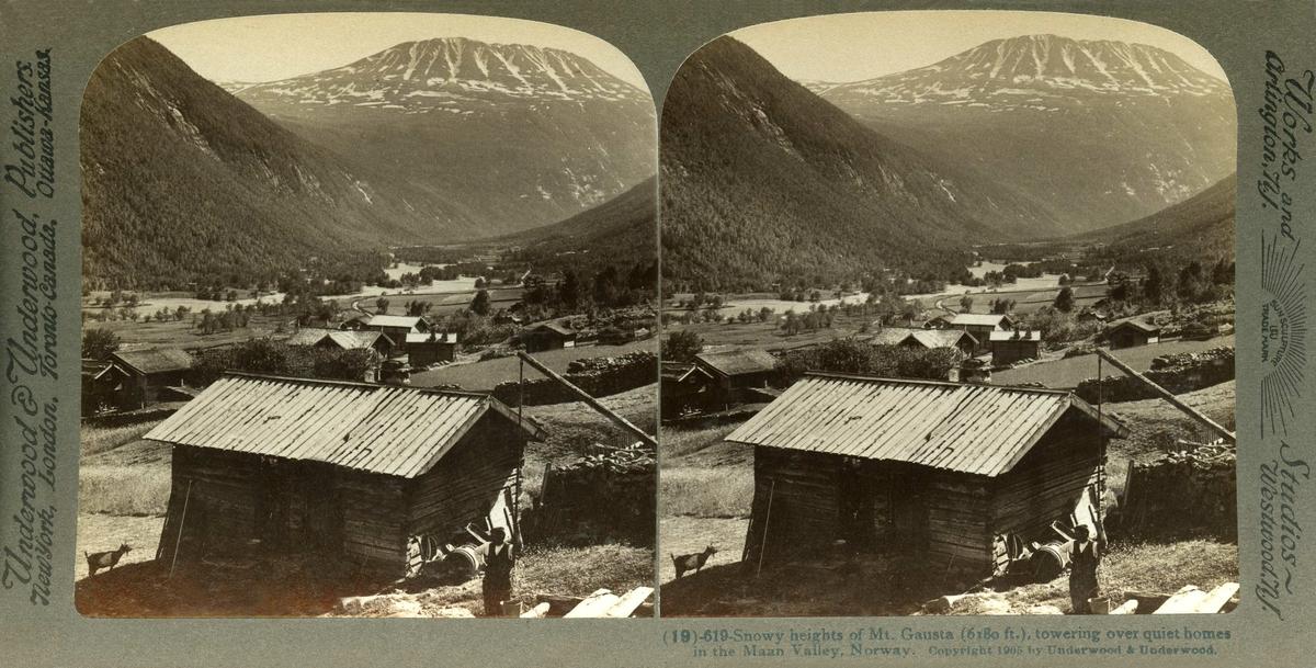 Stereoskopi. Gårdsbebyggelse nær Gaustatoppen, antatt Vestfjorddalen,Tinn, Telemark med elva Måna. I forgrunnen mann ved vippebrønn.