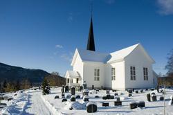 Serie bilder fra bokprosjekt om Peder Aadnes. Kirkebygg, gr