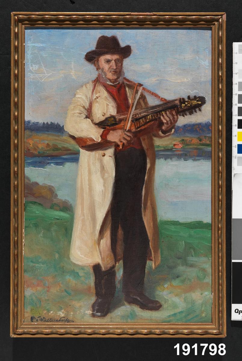 Musikinstrument, nyckelharpa Man i folkdräkt