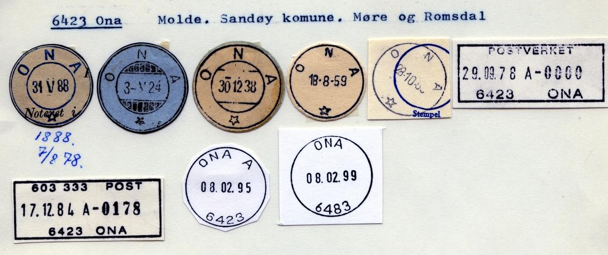 Stempelkatalog  6423 Ona, Sandøy kommune, Møre og Romsdal