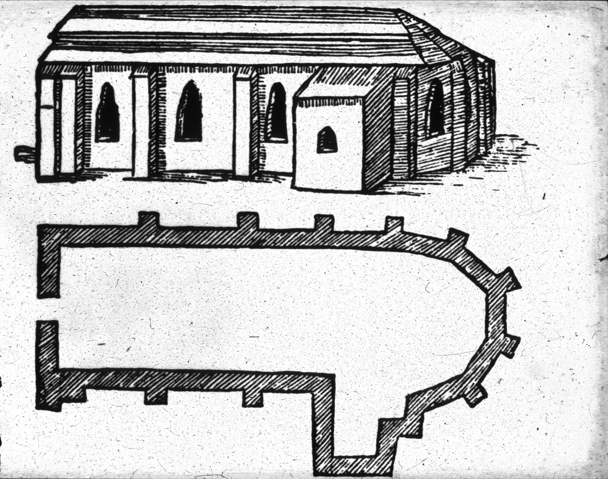 Ritning av S:t Eriks kyrka, Riddartorget, Uppsala