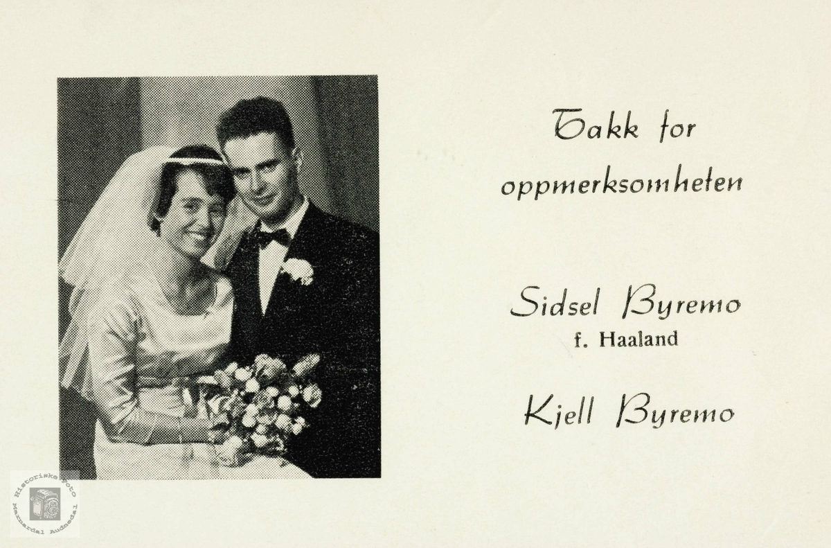 Takkekort fra brudeparet Sidsel og Kjell Byremo, Grindheim.