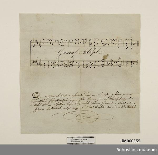 Ur handskrivna katalogen 1957-1958: Dokument 1631 (kop.) Kopia av order i chiffer från kung Gustaf II Adolf från trettioåriga kriget.