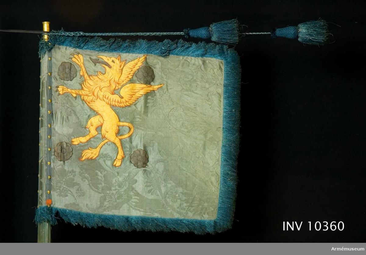 Grupp B I.  Standaret är troligen fört av skvadron från Östergötland. Enligt Cederstöm skulle holken vara inskruvat i ett blad av förgyllt trä som troligen förfärdigats  av något fälttecken som använts till prydnad på de kungliga slotten. Standaret har troligen brukats vid något fördubblingsregemente under Karl XII med samma stånd som Livregementet. Jämför AM 10359.  DUK av blå sidendamast. Östergötlands sköldemärke - en upprätt,  gyllene grip följd av fyra silverrosor - finns målat i övre,  inre hörnet på båda sidor. Runt kanten en frans av blått silke, fästad på stången med för-  gyllda tännlikor och sidenband i dukens färg. Fransens bredd  inklusive duk är 58 cm.   STÅNG av furu, blåmålad. Räfflad ovan greppet och förstärkt med  tre järnskenor samt försedd med löpande bärring på karbinstång  av järn. klack av järn. Hel längd 2,93 m. Till greppet 640 mm, i greppet 20 mm och till duken 1,6 m. Diameter upptill 33 mm, nedom duken 44 mm, ovan greppet 58 mm och i detsamma 45 mm.   SPETS av mässing. Holken är 60 mm lång. På främre tännlikebandet ett lacksigill. Lackstämpel: ...empel.. Jfr AM 1932:3681.  Samhörande kordong av silke.