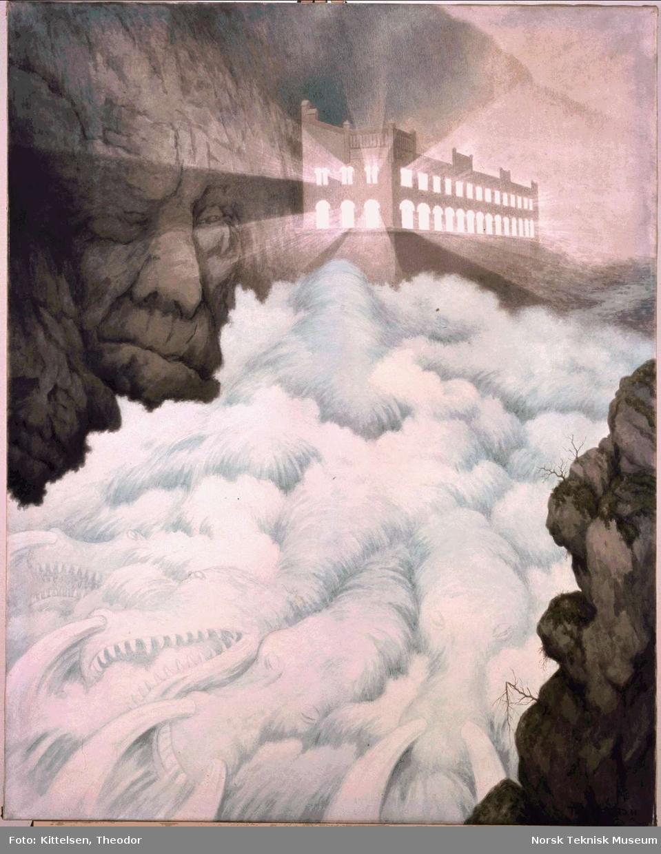 Eventyrslottet. Akvarell malt av Theodor Kittelsen