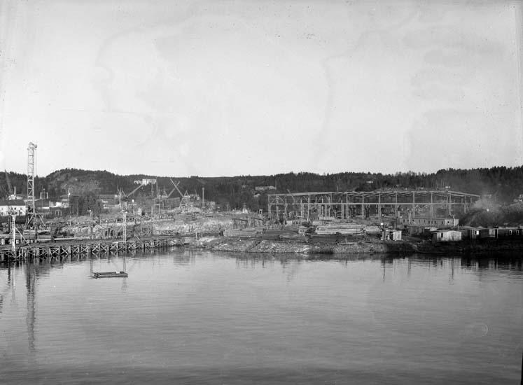 Svetshall och fartygsbädd under uppbyggnad, Sörvik.