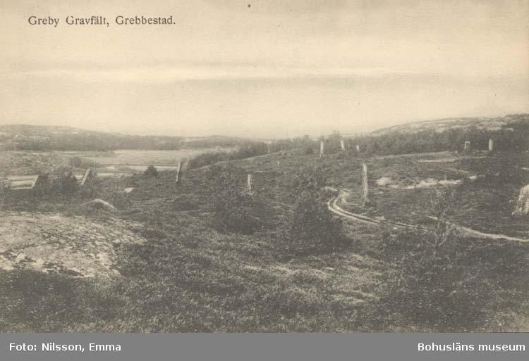"""Tryckt text på kortet: """"Grebbestad. Greby gravfält."""" """"Gravfält vid Greby, på höjden ö. om vägen till Grebbestad, c:a 800 m. nnö om Grebbestads kyrka (fornminnesskylt). Det är ett av de största och mest imponerade gravfälten i Bohuslän och består av omkr. tvåhundra högar, många med stensatt kant, fotkedja, och ett flertal bautastenar, av vilka många fallit omkull. (En liggande sten i norra delen av fältet visar spår av kvarnstenshuggning). Gravfältet vittnar om en rik bebyggelse i denna trakt under förhistorisk tid. Några gravar undersöktes 1873 av Oscar Montelius. De lämnade fynd från tiden omkr. 400 e. Gravfältet omspänner dock säkert betydligt större tidrymder.  Se Litt: Holmberg Uppl. 2 II: 66 F."""