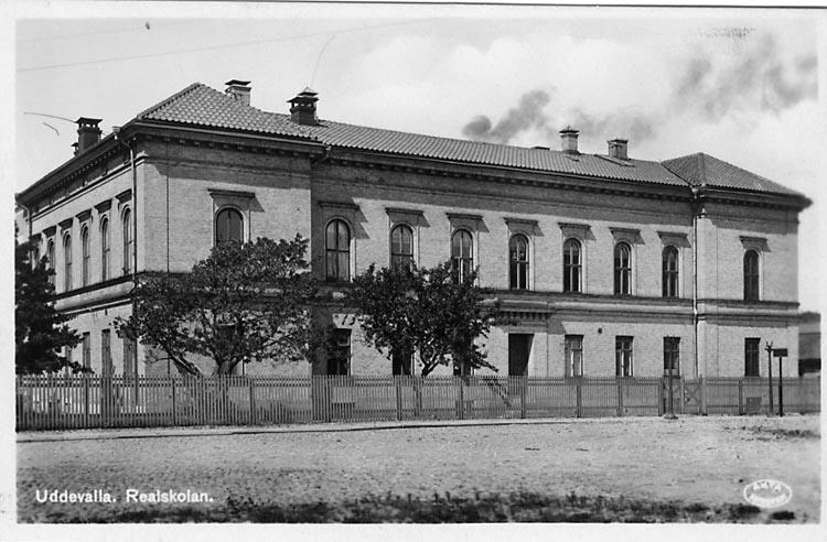 """Tryckt text på vykortets framsida: """"Uddevalla, Realskolan"""".    ::"""