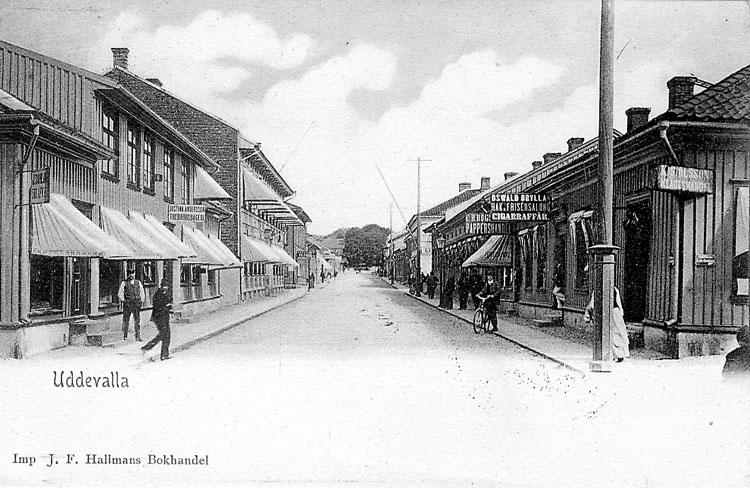 """Tryckt text på vykortets framsida: """"Uddevalla"""".  ::"""