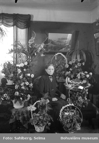 """Text som medföljde bilden: """"Elemina Sahlberg.""""  Uppgifter från Munkedals HBF: """"Elemina var mor till fotografen."""""""