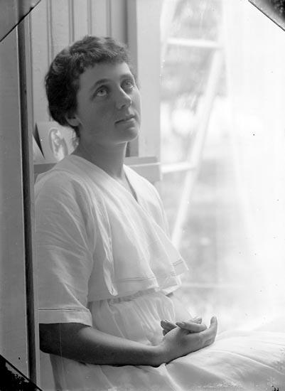 """Enligt fotografens journal Lyckorna 1909-1918: """"Nilsson, Fr. Kamrerkontoret Lyckorna"""". Enligt fotografens notering: """"Fr. Gerda Nilsson Kamrerkontoret Lyckorna""""."""