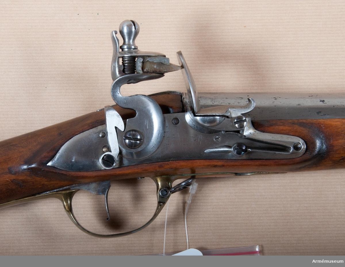 Grupp E II. Sannolikt fastställt för NYLANDS och KARELENS DRAGONER. (Liknar m/1778.) LITT  Alm: Arméns eldhandvapen, tab. 3:9.