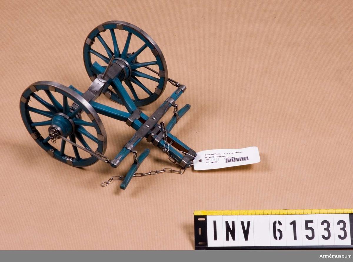 Grupp F I.   Kapten F A Spaks katalog 1888.  I modellen ingår eldrör, lavett med anmarschjärn, föreställare, 2 svänglar och handspik.