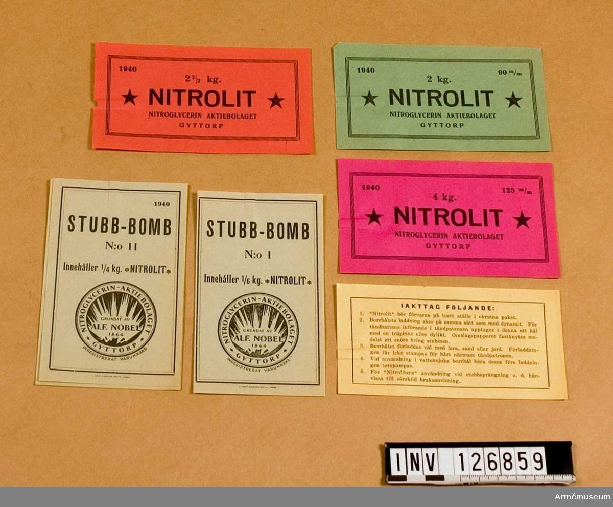"""""""Nitrolit"""", div. """"Stubb-bomb"""" etc."""