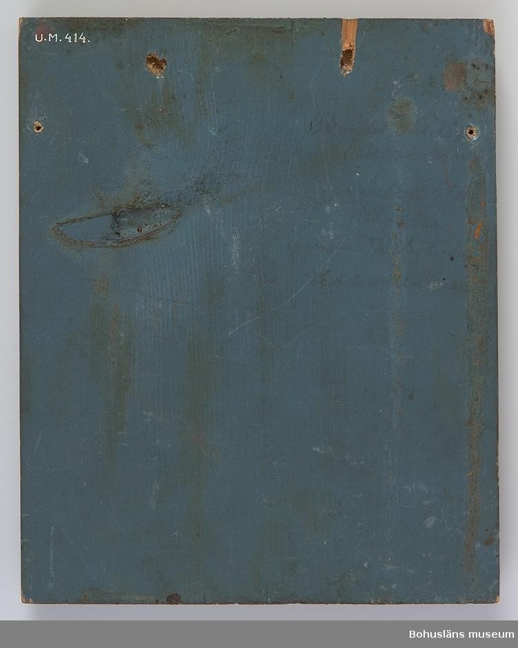 Anteckning i blyerts på föremålets baksida: Skänkt Okt. 187? av Ärkediakon i Solowatsk [Solovkij eller Solovetskij] kloster genom Th. Björnberg till Uddevalla museum.  Litograferad och fernissad bild på träplatta. Fernissan har åldrats så att bilden upplevs gulbrun och mycket flammig. Plattans baksida och kanter målade i en matt blågrön oljefärg. Två olika typer av hål efter upphängning på föremålets baksida.  Ur Knut Adrian Anderssons katalog: No 31 Oljetavla (20 x 17 cm). Ryskt kloster i bakgrunden, därovan Madonnan med barnet och  i förgrunden 2 munkar i långa svarta kåpor. Skänktes i Oktober 1874 av Ärkediakonen uti Slowatsk kloster (norra Ryssland), varifrån tavlan hemfördes till Uddevalla av Kollega Theodor Björnberg.  Ur handskrivna katalogen 1957-1958: Ryskt kloster, tavla Mått: 21 x 17 x 2 cm; måln. på träplatta; ikon, kloster, madonnan och 2 kyrkl. potentater. Hel.