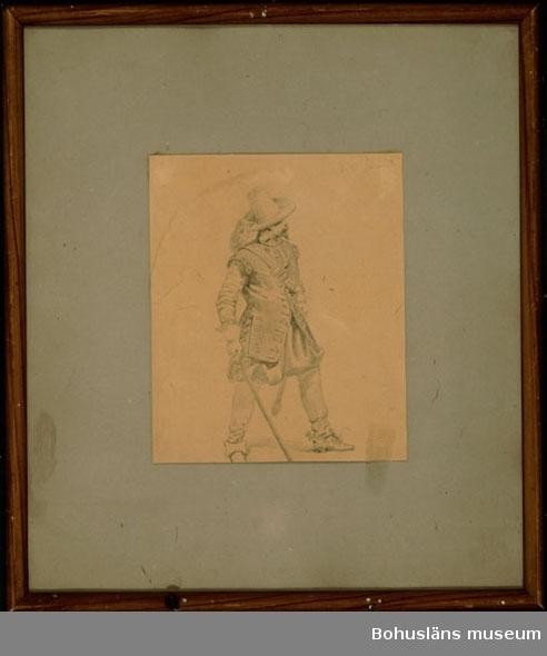 """Ur handskrivna katalogen 1957-1958: Bodlund: """"Krigare fr. 1600 t."""" H: 37,2 Br. 32,7 Blyertsteckning. """"d.21 Janu (?) 48"""". Mått för teckningen: 19,8 x 16,2.  8  Lappkatalog: Teckn 4"""