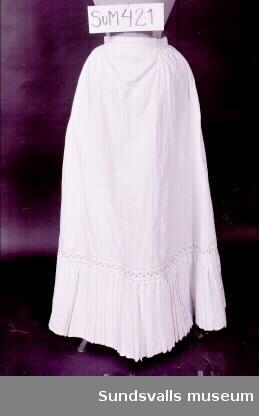 Underkjol av vitrandigt linne med plisserad kappa. Mellan Kjol och kappa sitter en bård i rött och blått.