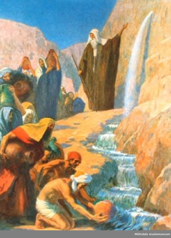 Kristendomskunskap:Moses frambringar vatten ur klippan.Bibeln i bild nr. 6.