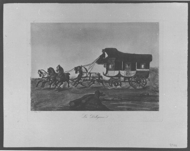 Färglagt grafiskt blad med text: La Diligence. Motiv: Heltäckt diligens med fem hästar i full karriär. Slättlandskap.