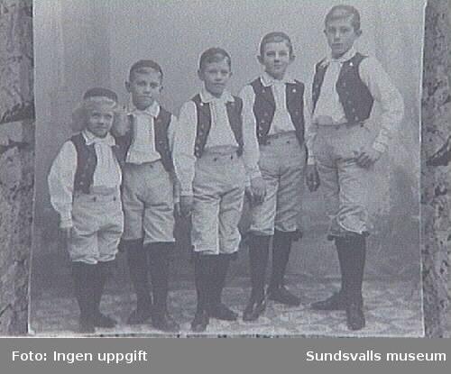 Syskonskara, klädd i folkdräkt. Längst till höger Gunnar Johansson, f 1892 som senare gifte sig med konstnärinnan Maja Braathen. Föräldrarna heter Gustaf och Lydia Johansson. Gustaf Johansson var direktör för Johannedals Trävaruaktiebolag.